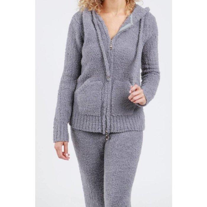 Grey Berber Fleece Hoodie Jacket