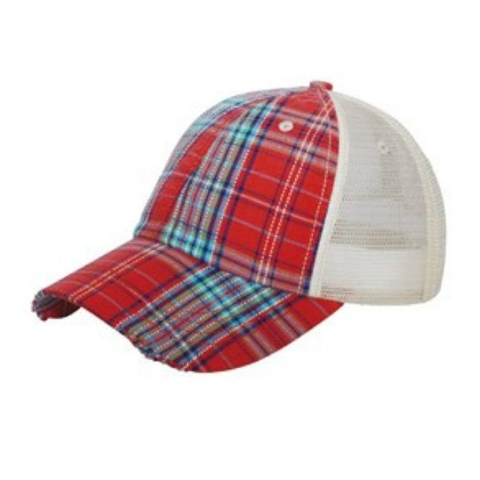 Red Plaid Baseball Cap