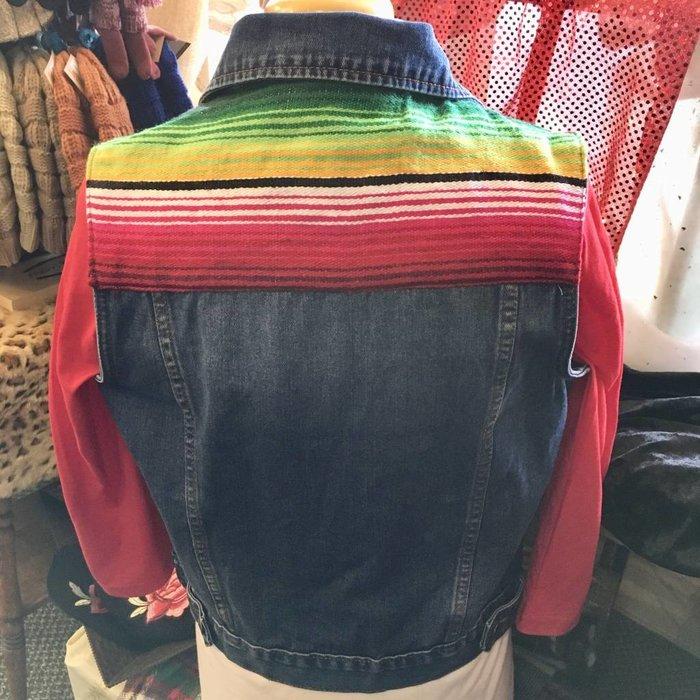 Serape Jean Vest #2 - SMALL