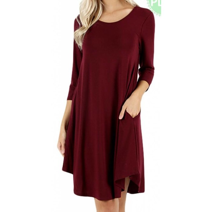 PLUS Burgundy 3/4 Sleeve Pocket Dress