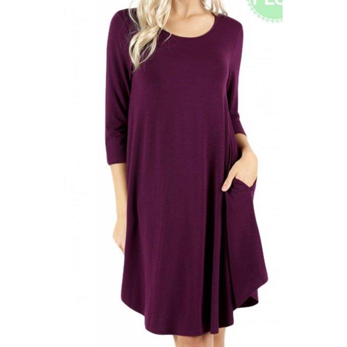 PLUS Plum 3/4 Sleeve Pocket Dress