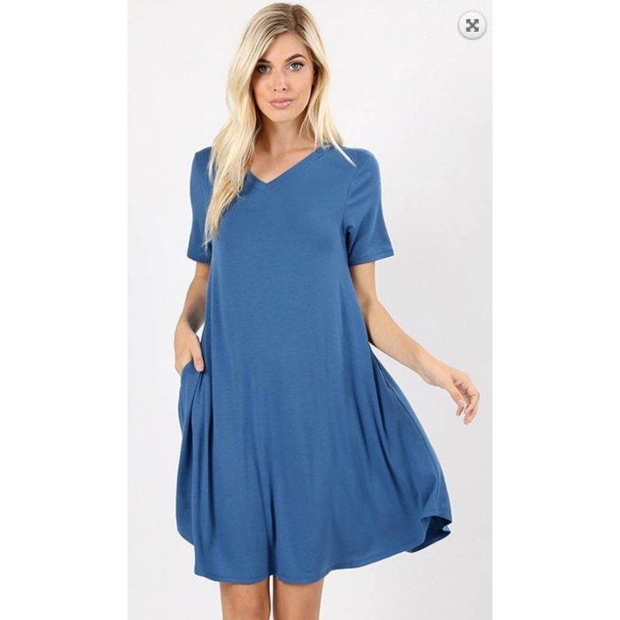 Blue Mist V-Neck Pocket Dress