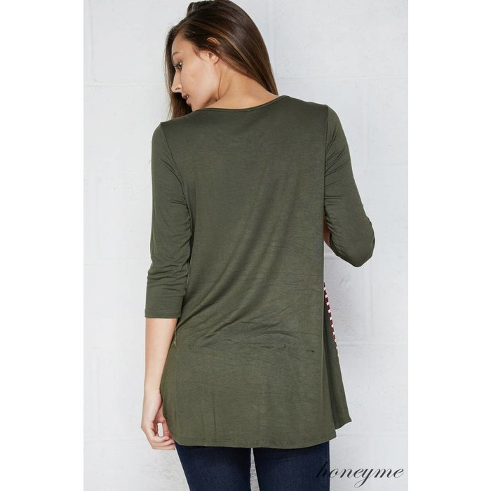 PLUS - Floral Striped Olive Tunic