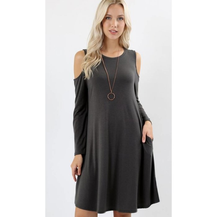 Ash Grey Cold Shoulder Dress