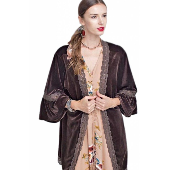 Chocolate Velvet Bell Sleeve Lace Trim Cardigan