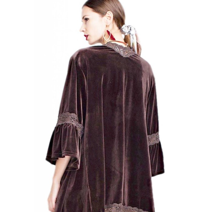 Chocolate Velvet Bell Sleeve Lace Trim Cardigan
