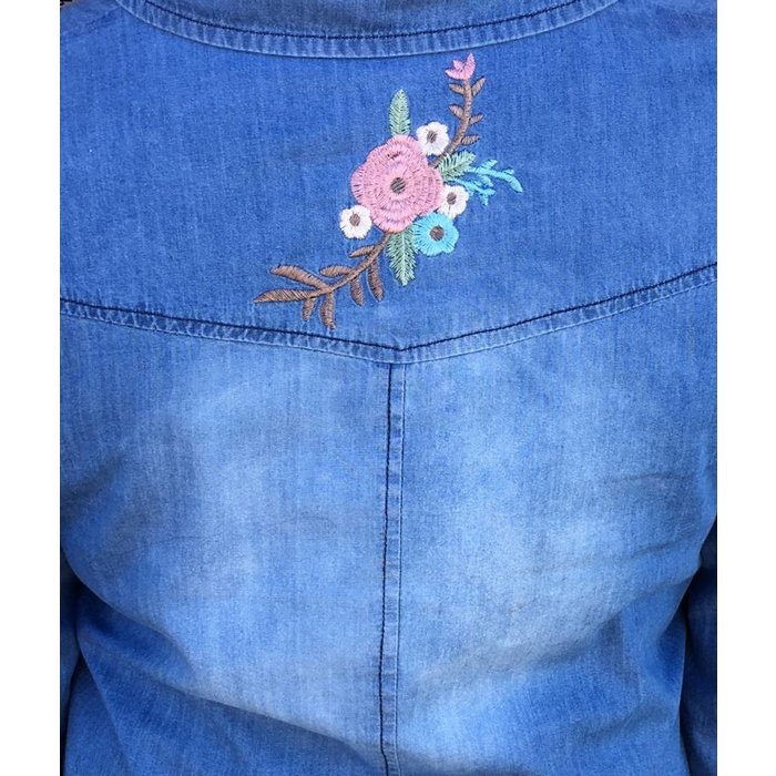 Denim Southwest Embroidered Dress