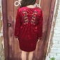 Wine Embroidered Velvet Dress