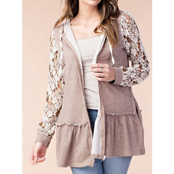 Lace Sleeve French Terry Hoodie Cardigan