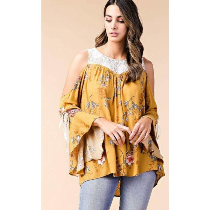 Honey Mustard Floral & Lace Cold Shoulder Top