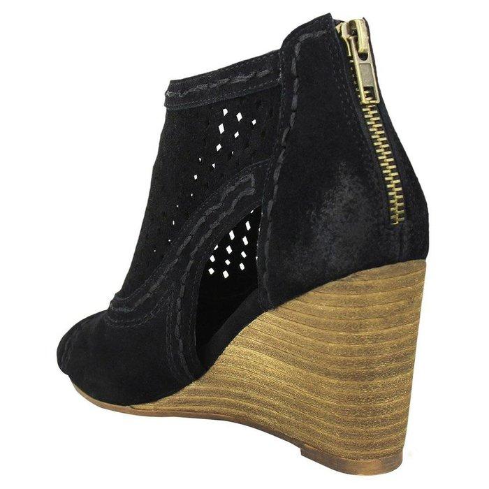 Sharon Black Wedge Peep Toe Shoe