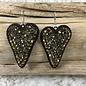 Bronze Bling Black Heart Earrings