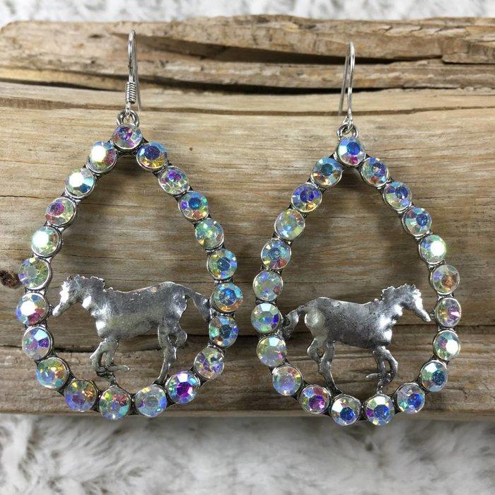 Silver Horse Teardrop AB Earrings