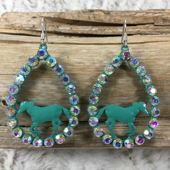 Turquoise Horse Teardrop AB Earrings