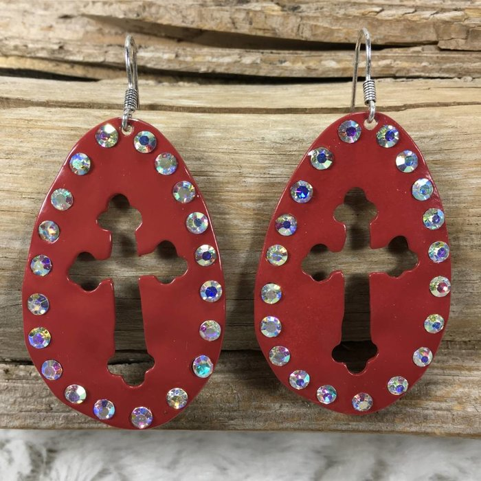 Red Cut Out Cross AB Earrings