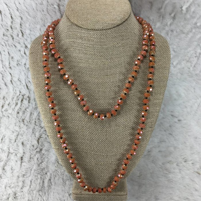 Orange Crystal Knotted Long Necklace