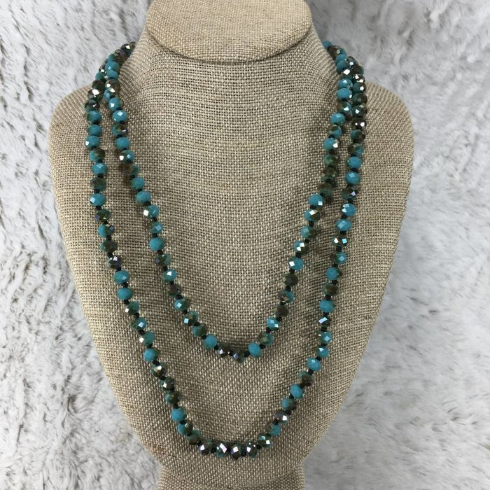 Turquoise Crystal Knotted Long Necklace