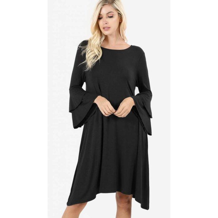 Black Double Bell Sleeve Dress