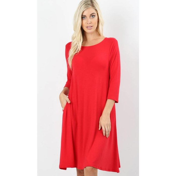 Red 3/4 Sleeve Flare Dress