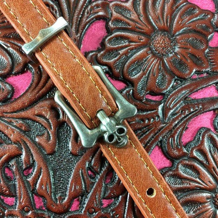 Pink Tooled Leather Fringe Phone Charging Crossbody Bag