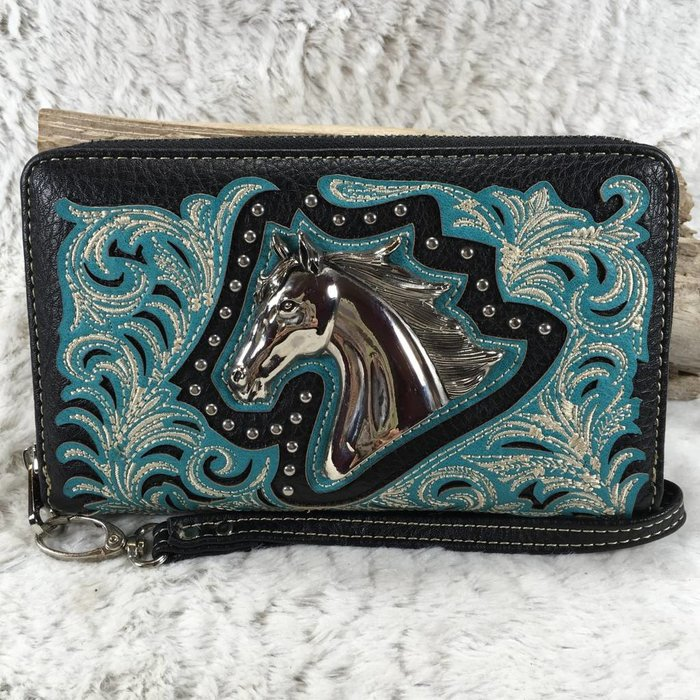 Turquoise Embroidered Wallet