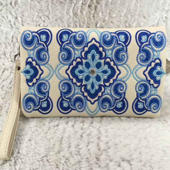 Blue Embroidered Clutch Purse