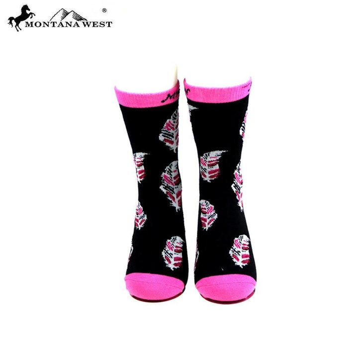 Black and Pink Feather Socks