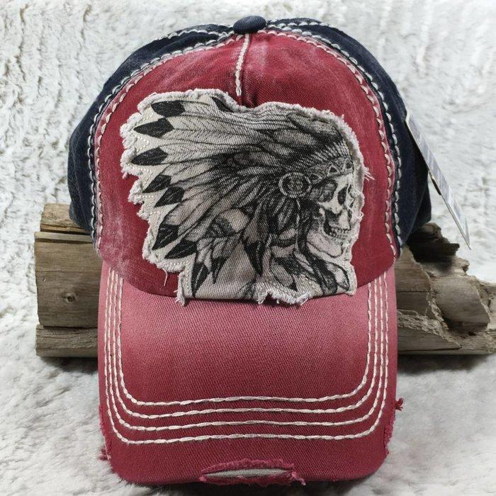 Red Indian Skull Headdress Hat