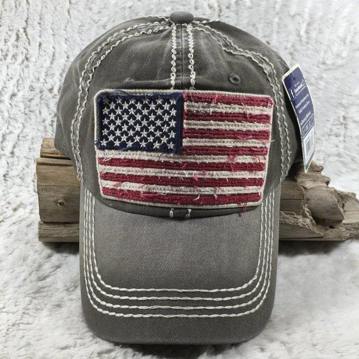 Grey American Flag Hat