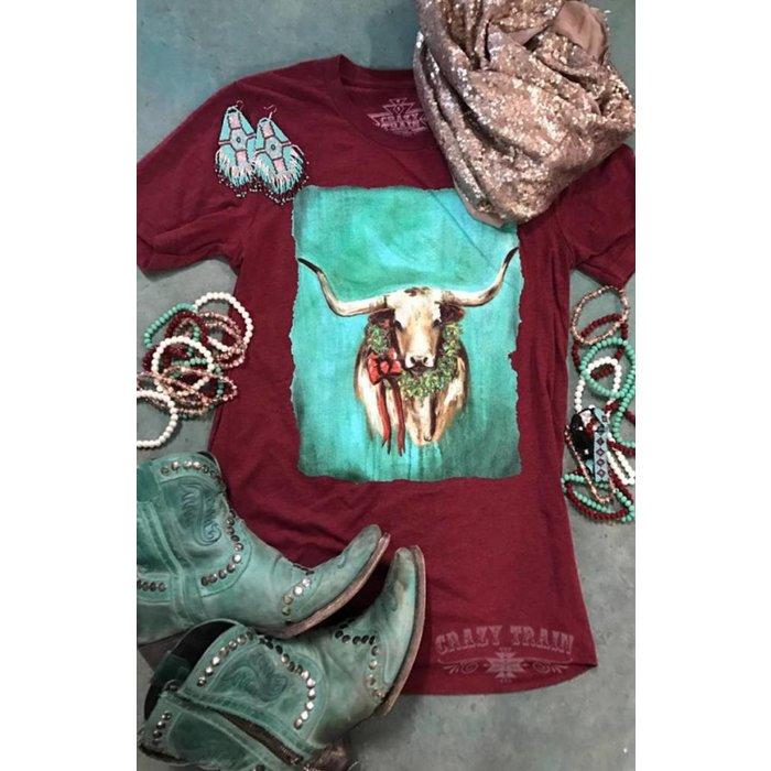Texas Tidings Longhorn Christmas T-Shirt