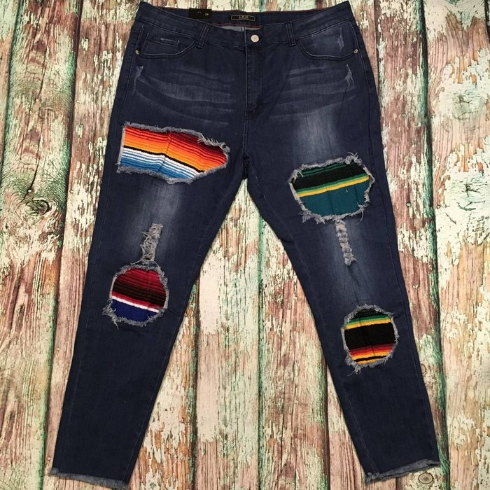 Serape Patch Skinny Jeans - SZ 20