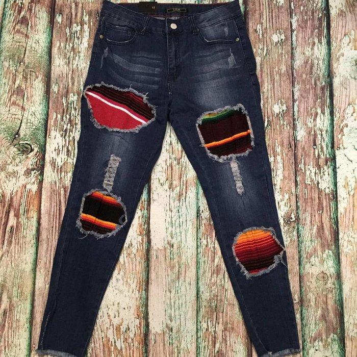 Serape Patch Skinny Jeans - SZ 12