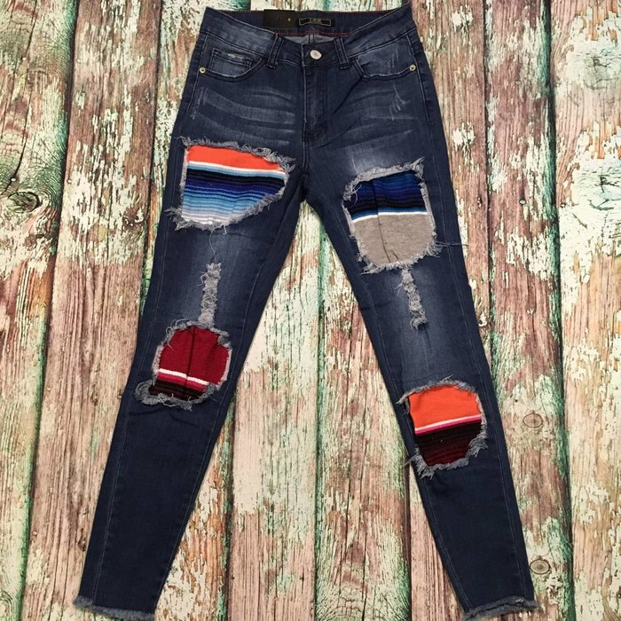 Serape Patch Skinny Jeans - SZ 6