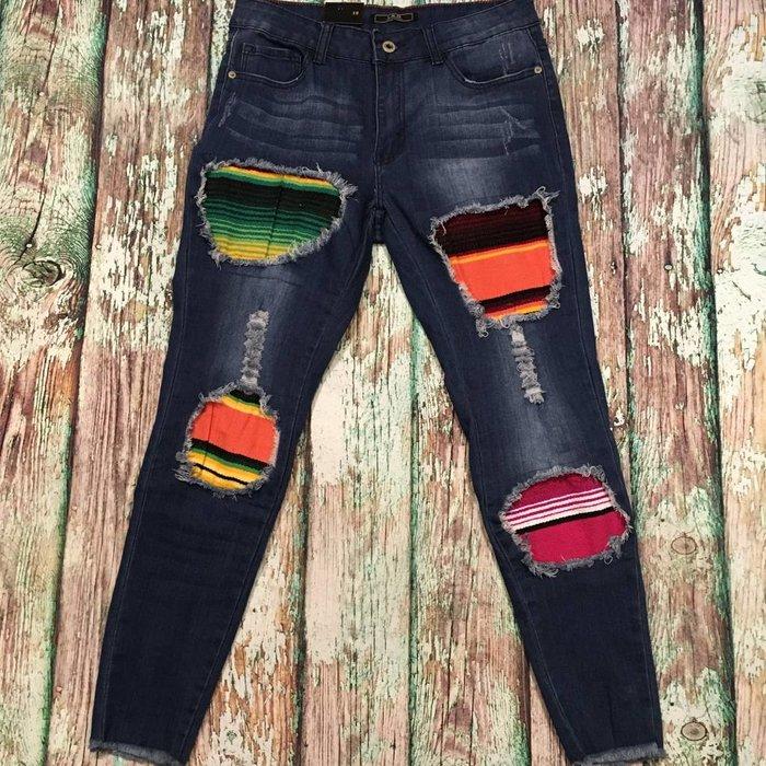 Serape Patch Skinny Jeans - SZ 10
