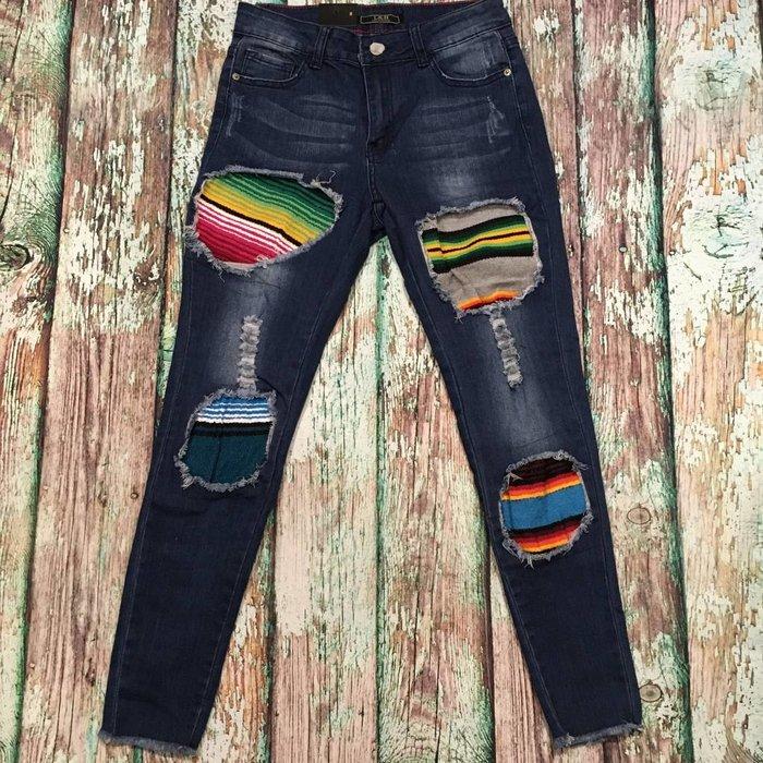 Serape Patch Skinny Jeans - SZ 8