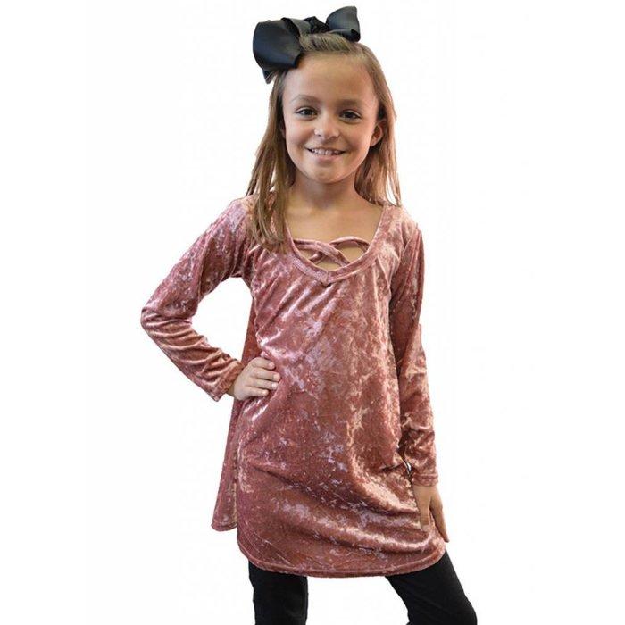Kids Mauve Velvet Criss Cross Dress