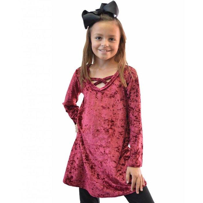 Kids Maroon Velvet Criss Cross Dress