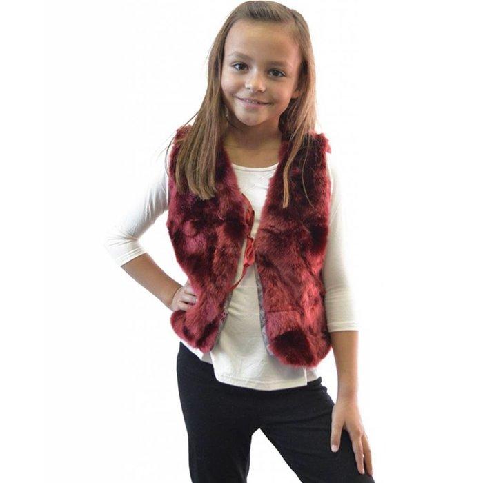Kids Maroon Fur Vest