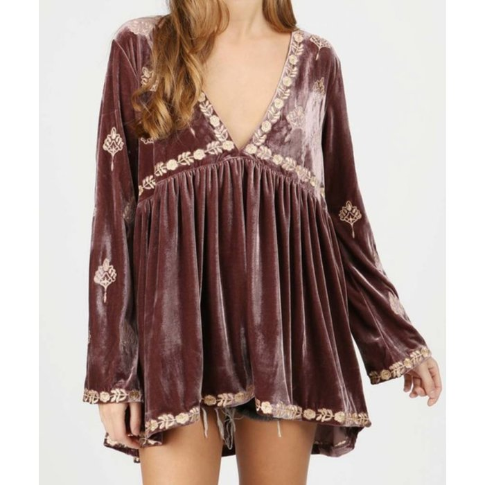 Crushed Velvet Tunic with Embroidery Detail