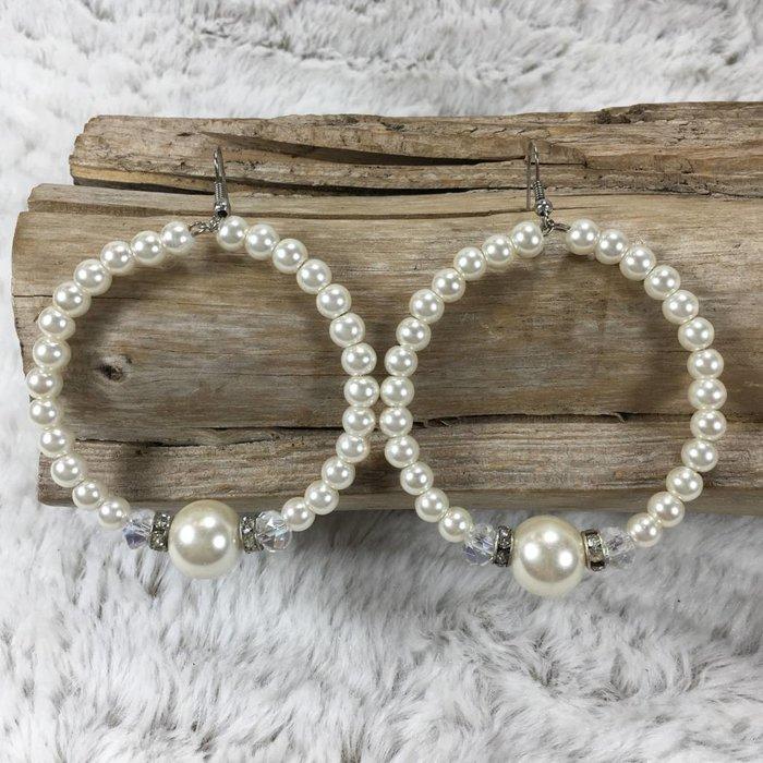 Large Pearl Hoop Earrings