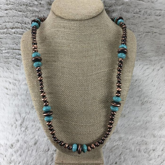 Large Long Navajo Pearl Bronze & Turquoise Beaded Set