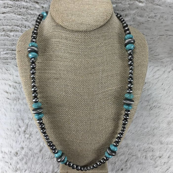 Large Long Navajo Pearl Silver & Turquoise Beaded Set