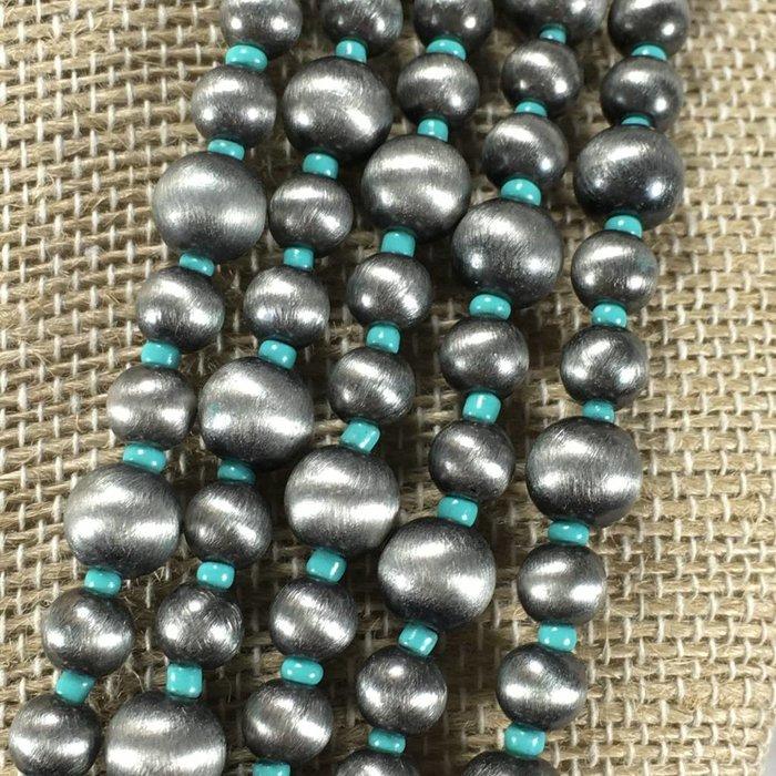 Navajo Pearl Necklace Set - Turq/Silver