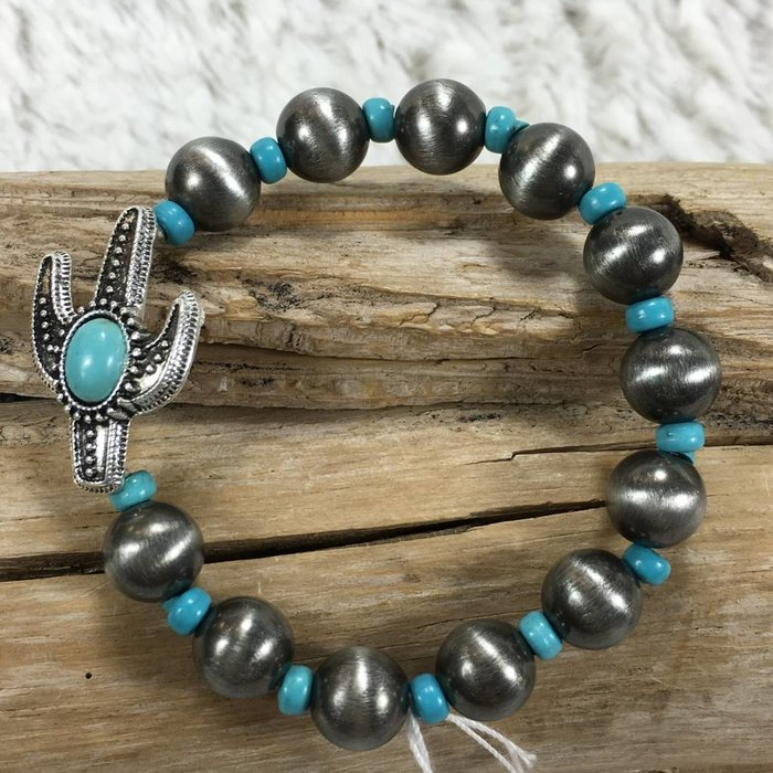 Silver Cactus Navajo Bracelet