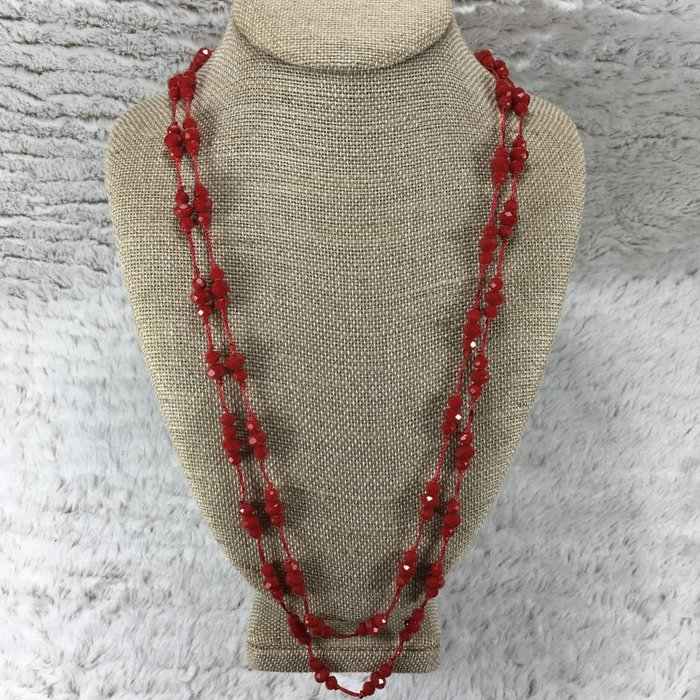 Red Crystal Knotted Necklace