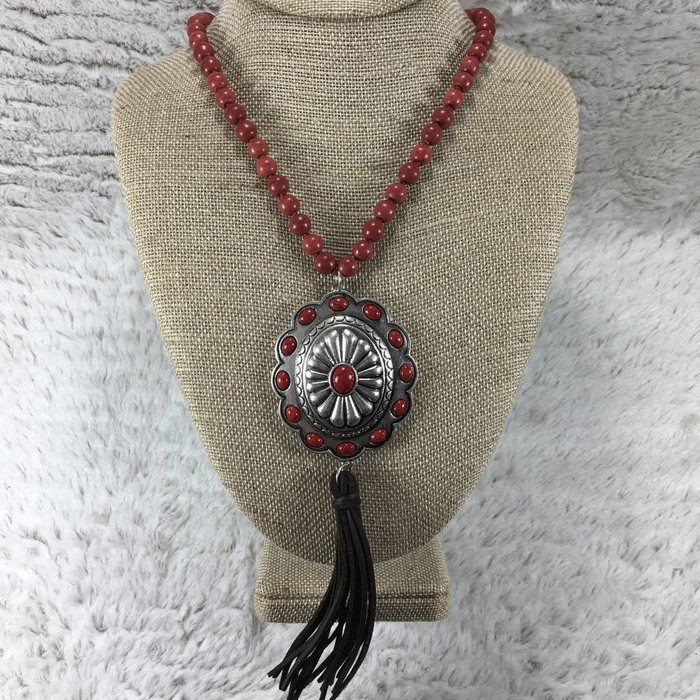 Red Concho Brown Tassel Necklace