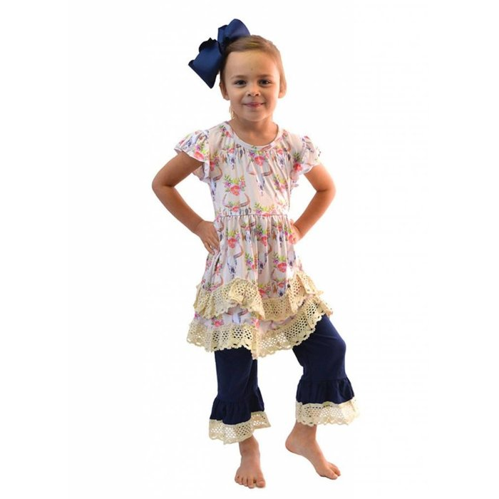 Kids Bull Skull Feather & Lace Pant Set