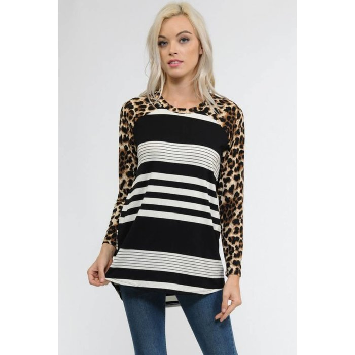 Plus Black and White Striped Leopard Sleeve Top