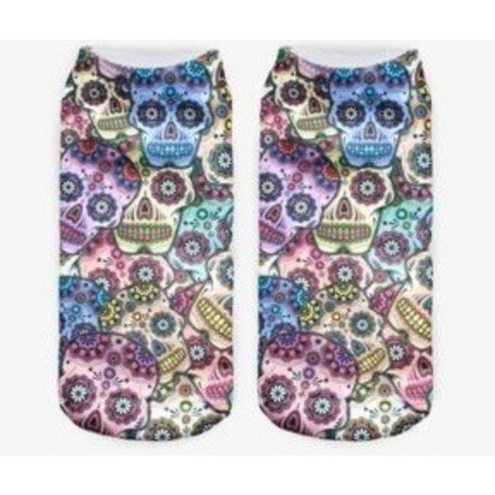 Sugar Skull Ankle Crazy Socks