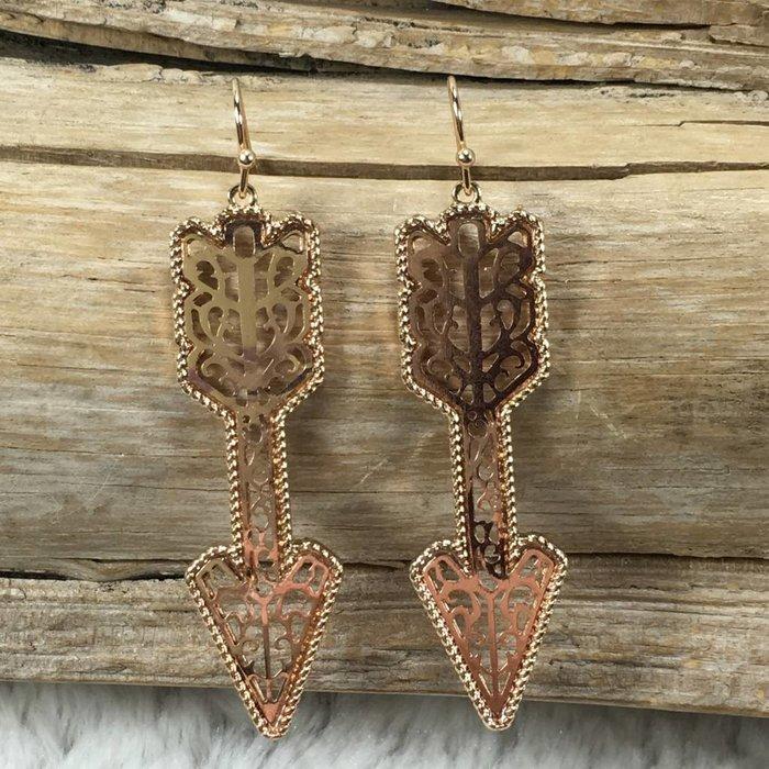 Rose Gold Filgree Arrow Earrings